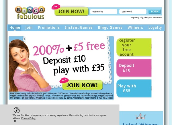 Bingo Fabulous Joining Offer
