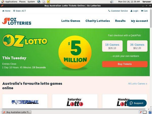 Ozlotteries Desktop