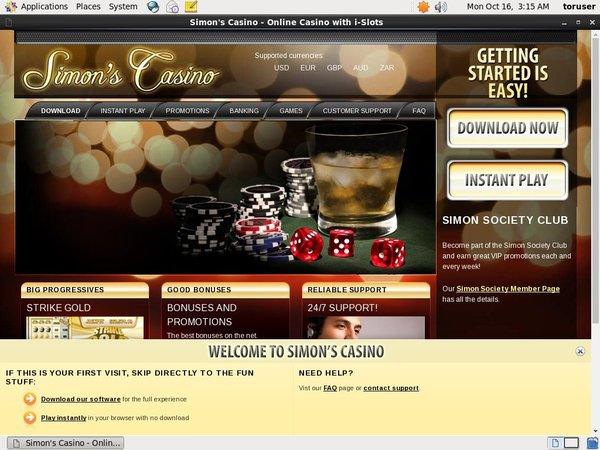 Simon Says Casino Sign Up Offer