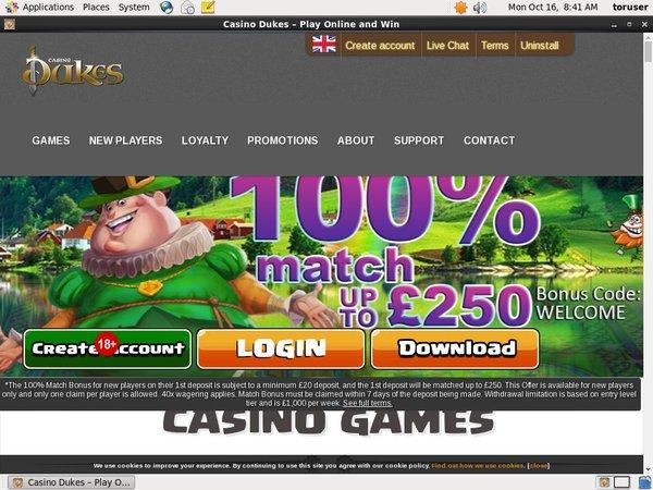 Casinodukes 登録方法