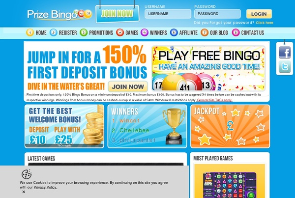 Prize Bingo Sign Up Code
