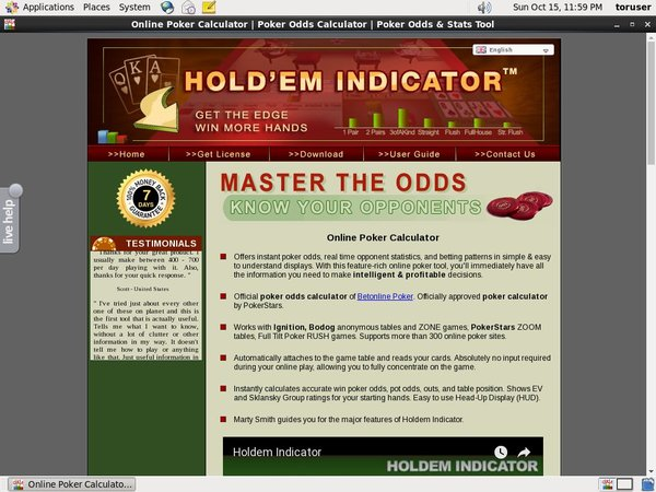 Holdem Indicator Odds To Win