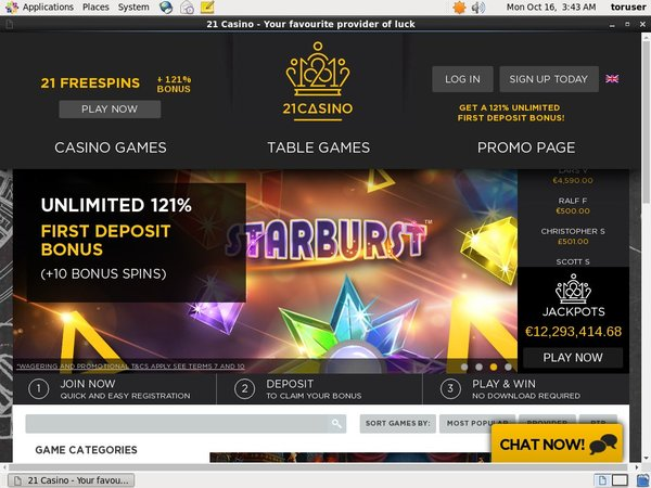 21 Free Spins Best Welcome Bonus