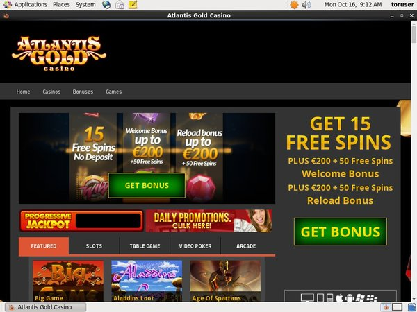 Atlantis Gold New Player Bonus