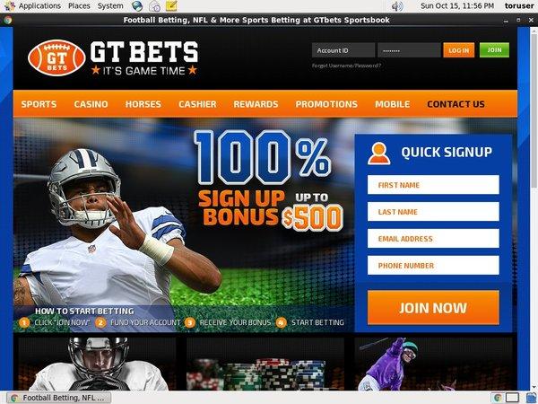 GT Bets NFL Casino Test