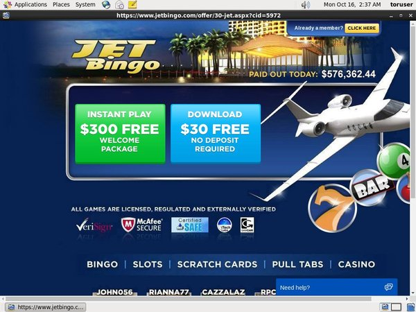 Jet Bingo Joining Offer
