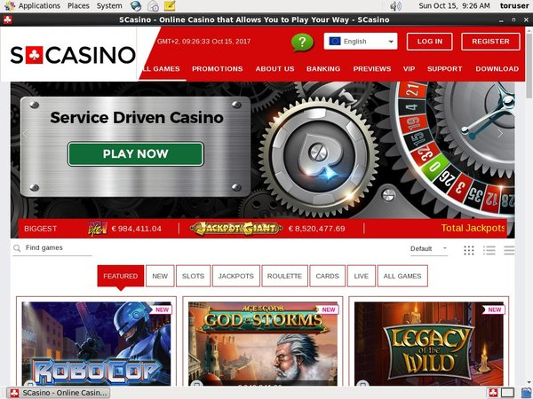 Scasino Sign Up Page